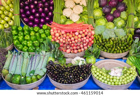 Organic Vegetables stall with fresh local produce in Ahmedabad, India