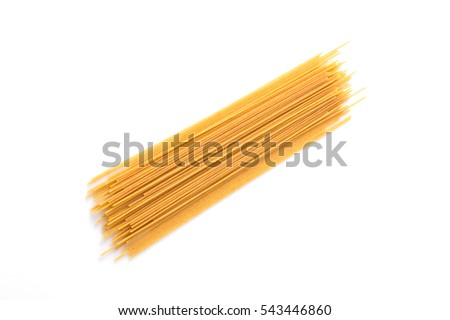 Organic whole wheat spaghetti pasta on white background