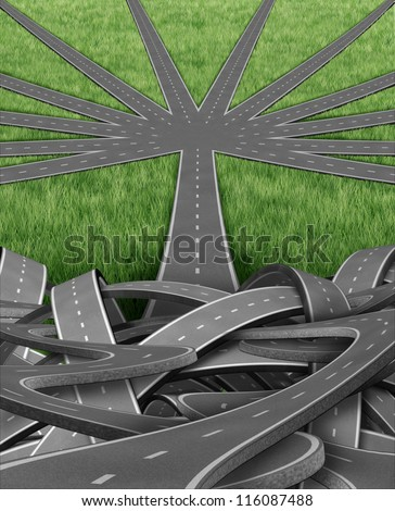 Organization and management with a group of tangled confused roads and highways and a single street emerging into an organized order of paths as a well managed strategic journey for business success. - stock photo
