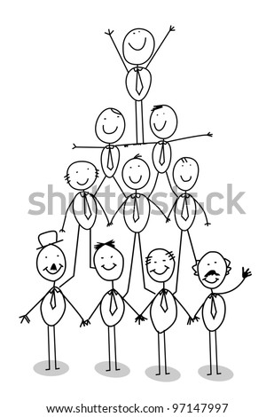 organization chart teamwork - stock photo