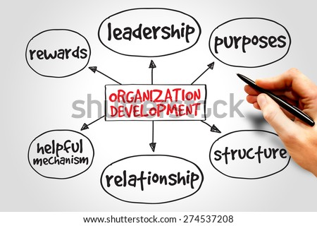 Organization development mind map, business concept - stock photo