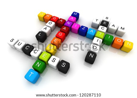 Organization Management colorful box Crossword 3D render - stock photo