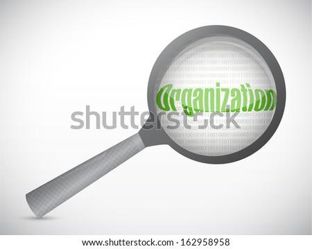 organization under a magnify search investigation. illustration design - stock photo