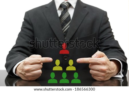 organization with difficult boss, bad middle management and good employees - stock photo