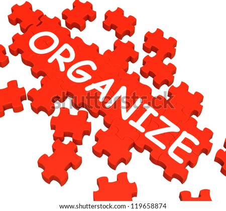 Organize Puzzle Shows Arranging, Managing Or Organizing.