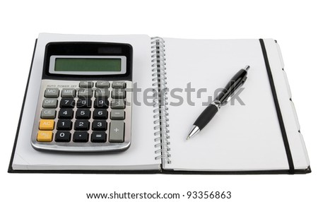Organizer and calculator with pen - stock photo