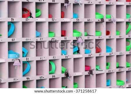Organizer for storage of keys on a reception in the swimming pool, fitness center and so on