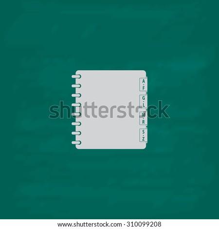 Organizer.  Icon. Imitation draw with white chalk on green chalkboard. Flat Pictogram and School board background. Illustration symbol - stock photo