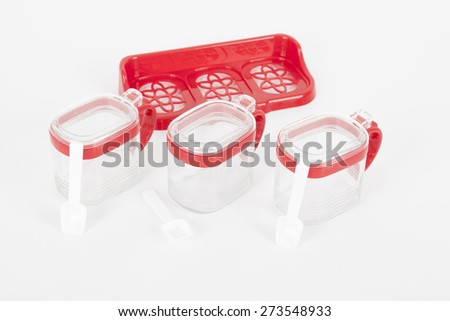 organizers set food containers in the kitchen on white background