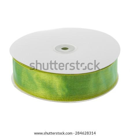 Organza ribbon isolated on white background - stock photo