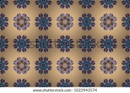 Orient, symmetry lace. Abstract Tribal, ethnic texture. Arabic Vintage decorative ornament. East, Islam, Thai, Indian, ottoman motifs. Raster Mandala colored on beige, blue and purple colors.