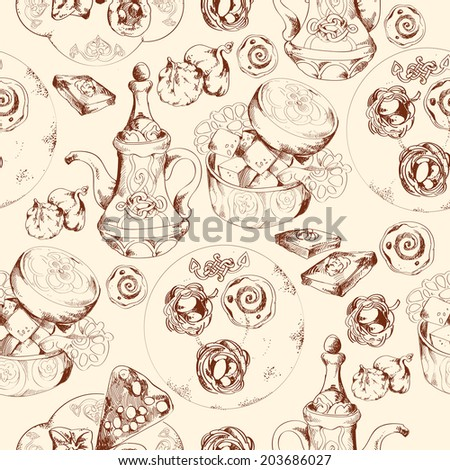 Oriental arabic traditional asian sweet dessert doodle seamless pattern  illustration.