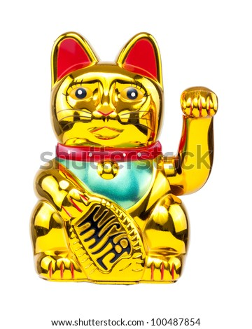 Oriental Asian Lucky Cat (Maneki Neko) isolated on white background