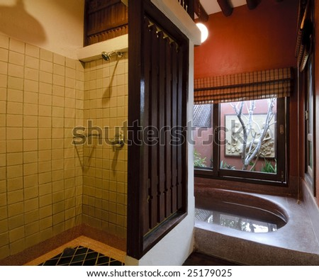 oriental bathroom - stock photo