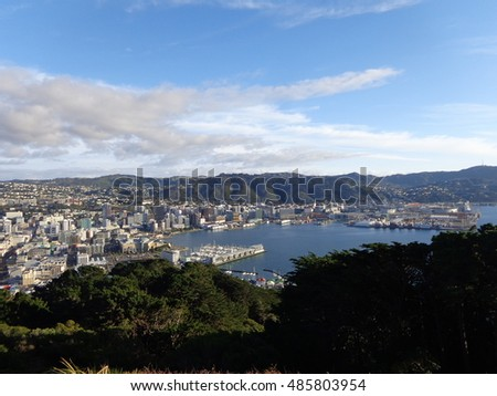 Oriental Bay turquoise water beach tree line blue sky white cloud Wellington