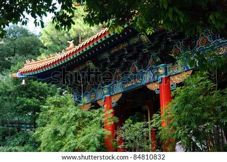 Oriental Chinese temple - Wong Tai Sin Temple, Hong Kong - stock photo