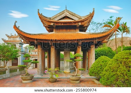 Oriental chinese traditional red temple landscape, Asia - stock photo