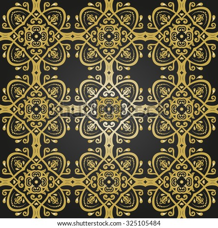 Oriental  classic colored pattern. Seamless abstract black and golden background - stock photo