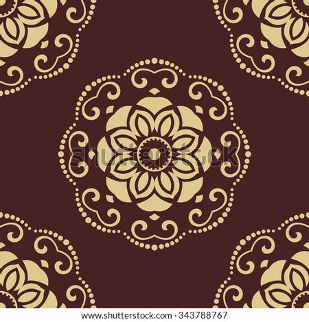 Oriental classic colored pattern. Seamless abstract brown and golden background