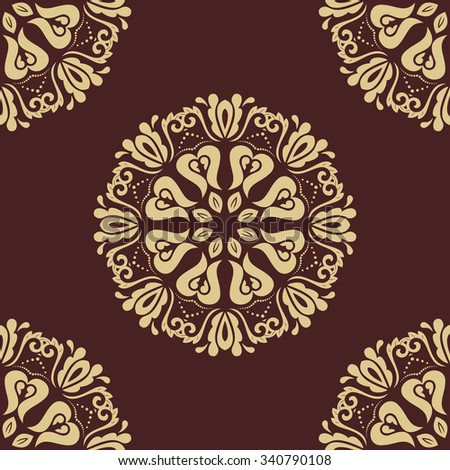 Oriental  classic pattern. Seamless abstract brown and golden background