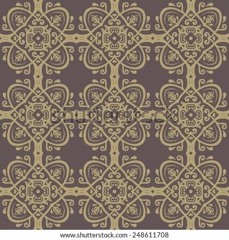 Oriental  classic pattern with damask, arabesque and floral golden elements. Seamless abstract background