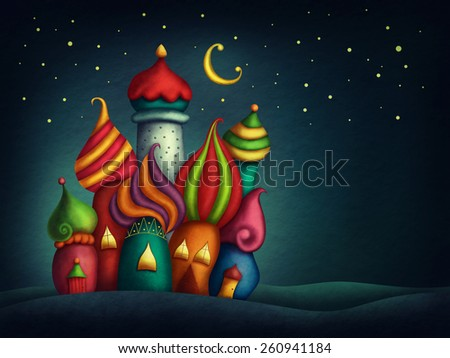 Oriental colorful houses at night - stock photo