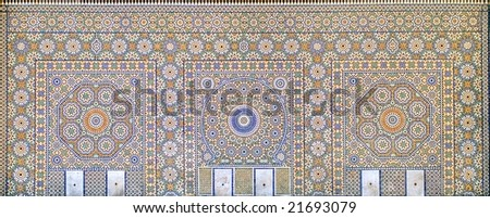 Oriental colorful tile ornamented wall in Marrakesh, Morocco - stock photo
