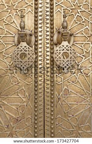 Oriental door detail in Morocco, North Africa - stock photo