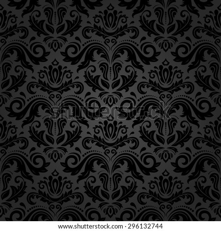 Oriental  fine texture with damask, arabesque and floral black elements. Seamless abstract background - stock photo
