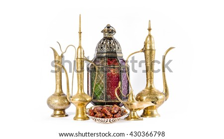 Oriental holidays decoration lantern, pots, dishes. Hospitality concept