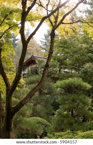 Oriental Home in the Garden - stock photo
