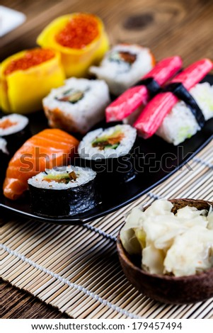 Oriental magic theme with Japanese seafood, sushi set
