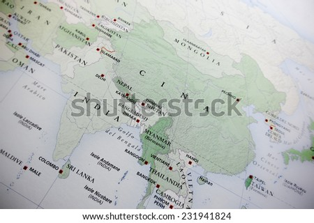 Oriental map (Geographical view altered on colors/perspective and focus on the edge. Names can be partial or incomplete) - stock photo