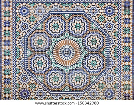 Oriental mosaic in Morocco, North Africa - stock photo