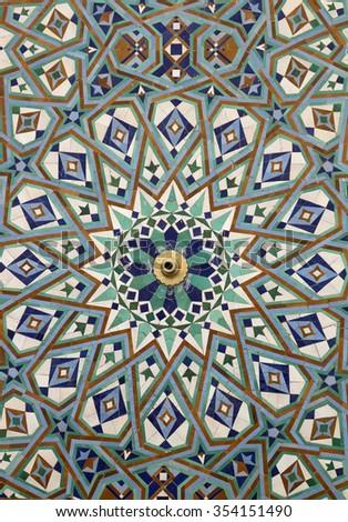 Oriental mosaic pattern in vibrant colors, Morocco, Casablanca - stock photo