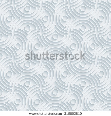 Oriental ornament. White paper with outline extrude effect. Abstract 3d seamless background. - stock photo