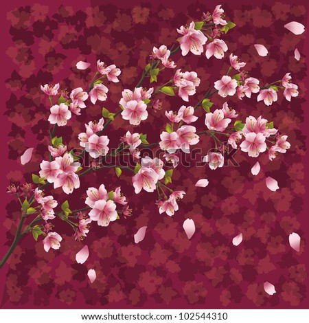 Oriental ornamental background with sakura blossom - Japanese cherry tree  with pattern - stock photo