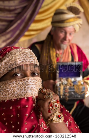 Oriental princess with silk veil and in the background a genie bringing a treasure chest - stock photo