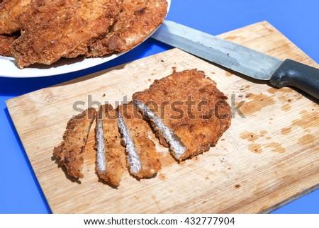 Oriental Roast Pork Belly on wooden chopping board - stock photo