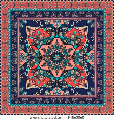 Festive Bandana Print Bright Flower Mandala Stock Vector