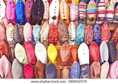 Oriental shoes from Morocco - stock photo