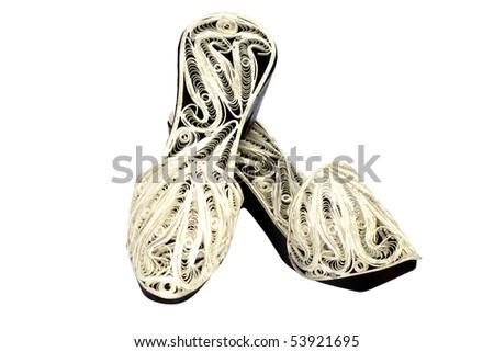 Oriental Silver Sandals - stock photo