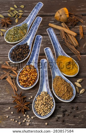 Oriental Spices used as cooking ingredients. - stock photo