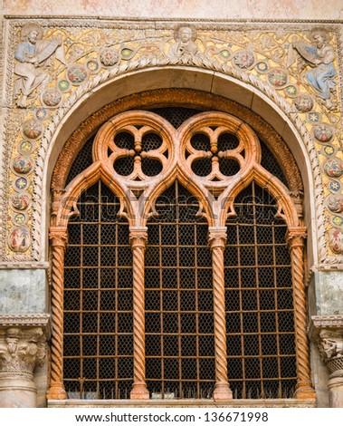 Oriental style facade at St. Mark's Basilica in Venice - stock photo