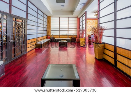Oriental  style  japanese room, lobby, entrance, hall of luxury five stars resort, restaurant. Interior design.