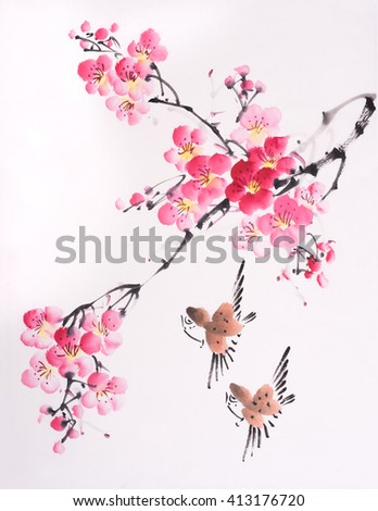 Oriental style painting, plum blossom in spring - stock photo