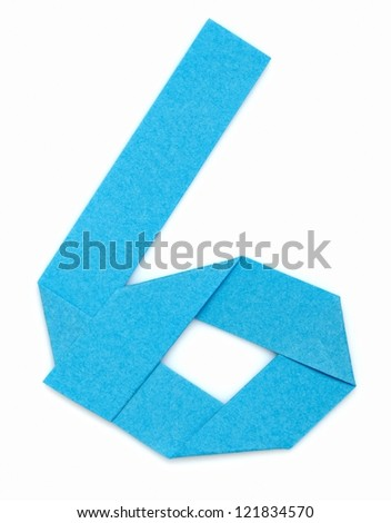 Origami alphabet letters number six in light blue color