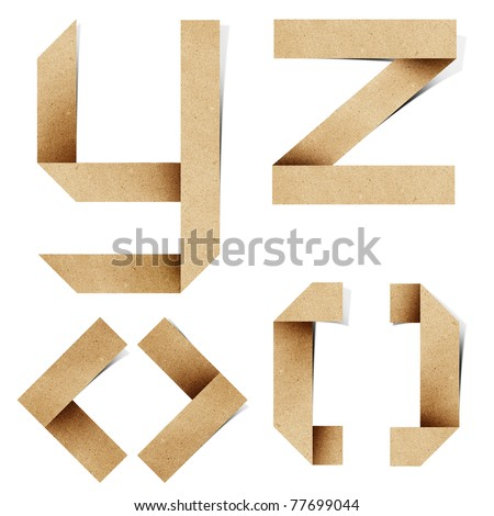 Origami alphabet letters recycled paper craft stick on white background (  y z < > [ ] )