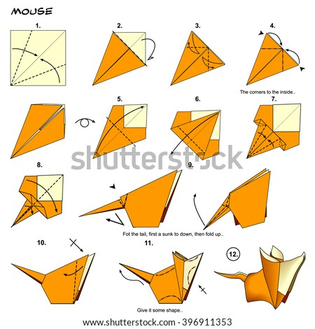Origami Animal Rat Mouse Diagram Instructions Stock Illustration