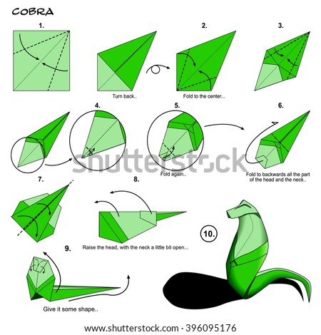 Origami Animal Snake Cobra Diagram Instructions Step By Paper Folding Art